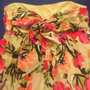 Vera Anthropologie Floral Silk Strapless Top